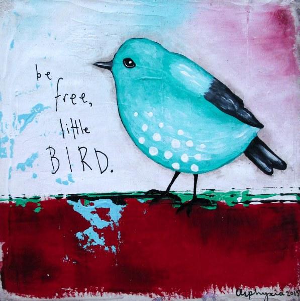 Be free little bird - aqua -2