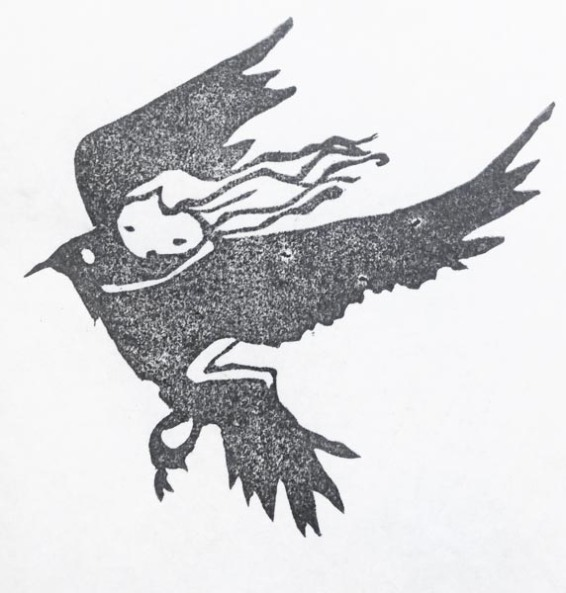 Girl and bird flying stamp